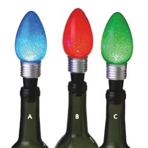Lighted Christmas Light Bulb Wine Bottle Stoppers