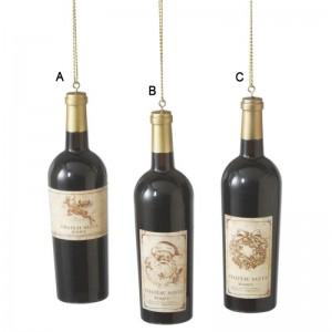 Wine Bottle with Retro Label Ornament