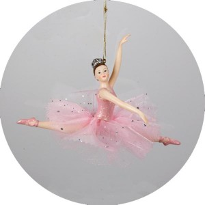 Ballerina Ballet Girl Leaping Christmas Ornament in Pink Tutu