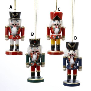 Wooden Nutcracker Ornament 4 Assorted