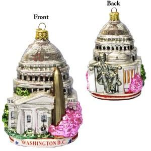 Washington D.C. Cityscape Glass Ornament