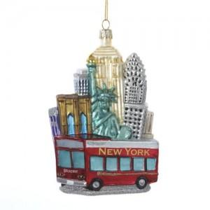 NYC Cityscape Glass Ornament
