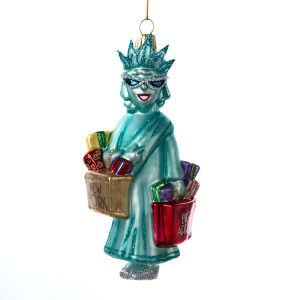 NYC Shopping Lady Liberty Glass Ornament