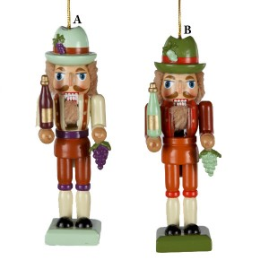 Tuscan Winery Wooden Nutcracker with Green Grape or Purple Cluster Christmas Ornament