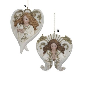 Winter's Blush Ivory or Gold Glitter Angel Christmas Ornaments