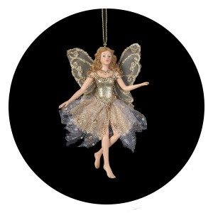 Glittered Platinum Fairy Angel Ornament