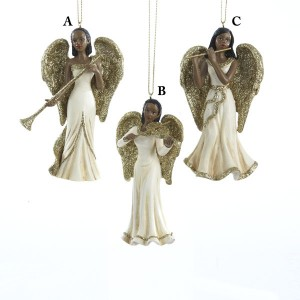 Winter's Blush African American Angel Christmas Ornaments