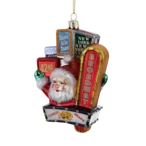 Santa Claus with Broadway Glass Ornament