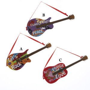 Hippie Guitar Christmas Ornament