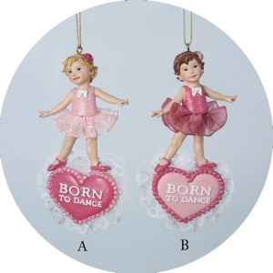 "Pretty in Pink ""Born to Dance"" Ballerina Dance Christmas Ornament"