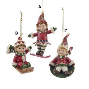 Winter Sports Elf Ornament