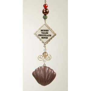 "Chocolate Shop ""Money Talks Chocolate Sings"" Plaque Christmas Dangle Ornament"