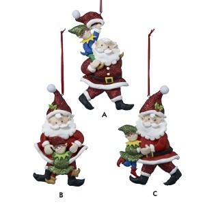JoyVille Elves Santa Claus Christmas Ornaments