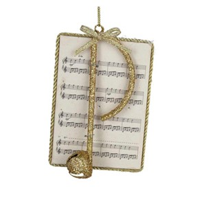 Gold Glitter Music Note on Sheet Music Ornament