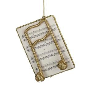 Gold Glitter Music Note on Sheet Music Ornament
