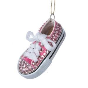 Tween Christmas Pink Jewel Encrusted Low Top Sneaker Christmas Ornament