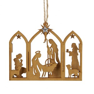 Wooden Brown Nativity Ornament