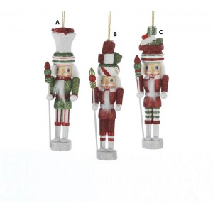 6 Inch Hollywood Red, White or Green Glittered Nutcracker