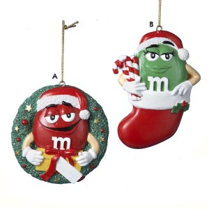 Chocolate Shop M&M's in Wreath and Stocking Christmas Ornament