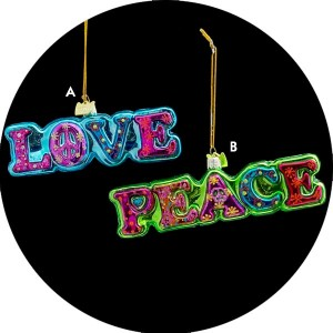 Peace And Love Christmas Ornament