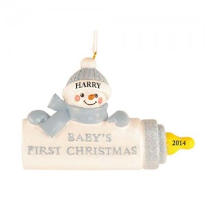 Baby Bottle Boy Personalized Christmas Ornament