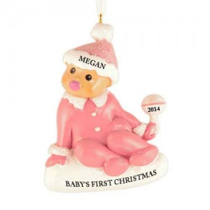 Sitting Baby Girl Personalized Christmas Ornament