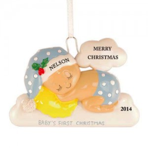 Sleeping On The Cloud Boy Personalized Christmas Ornament