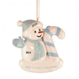 Snow Baby Candy Cane Boy Personalized Christmas Ornament