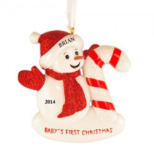 Snow Baby Candy Cane Christmas Personalized Ornament