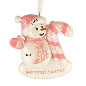 Snow Baby Candy Cane Girl Personalized Christmas Ornament