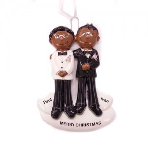 Gay Couple Black & Black Personalized Ornament