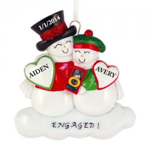 Cute Snow Engagement Personalize Christmas Ornament