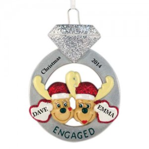 Engagement Mooses Personalized Christmas Ornament