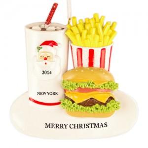 Santa Burger Personalized Christmas Ornament