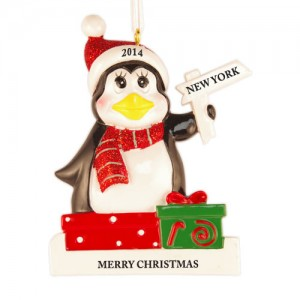 Penguin with Sign Pole Personalized Christmas Ornament