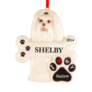 Maltese Dog Personalized Christmas Ornament