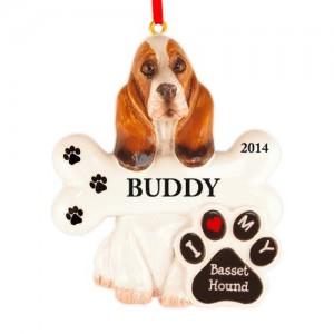 Basset Hound Dog Personalized Christmas Ornament