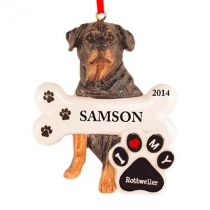 Rottweiler Dog Personalized Christmas Ornament