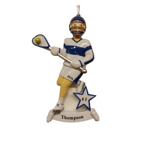 Lacrosse Boy Blue Personalized Christmas Ornament