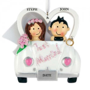 Just Married Car Personalized Christmas Ornament