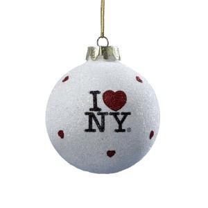 """""""I Love NY"""" Glitter White Christmas Ball Ornament"""