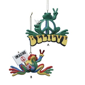 """Peace Frog"" Hippie Imagine and Believe Christmas Ornament"