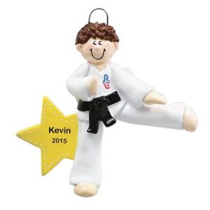 Karate Boy Personalized Christmas Ornament