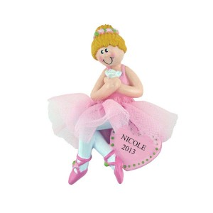 Ballerina Blonde with Flowers Personalize Christmas Ornament