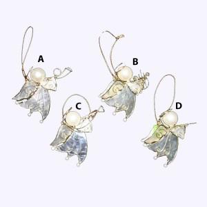 Capiz Mini Angel With Instrument Ornament
