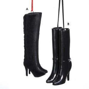 Fashion Avenue Ladies High-Heel Black Boots Christmas Ornament