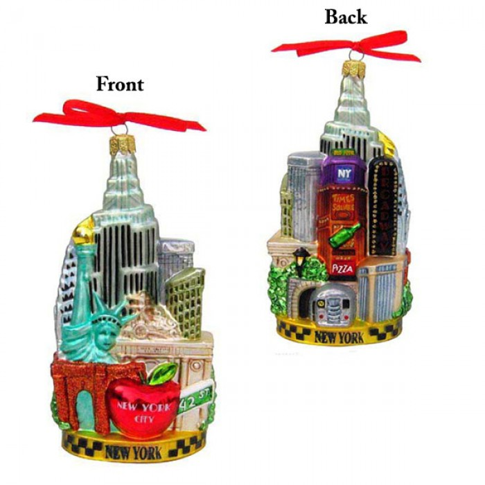 New York City Scape Glass Ornament - Christmas and City