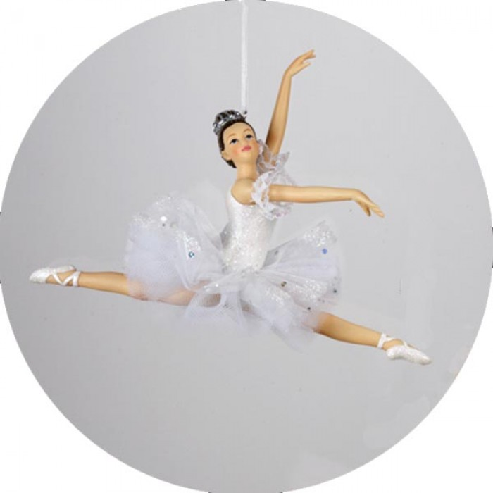 Ballerina ballet girl leaping christmas ornament in white for Ballet shoes christmas decoration