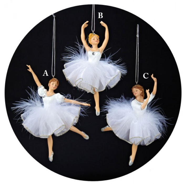 White and silver ballerina with feather tutu christmas for Ballerina tree decoration