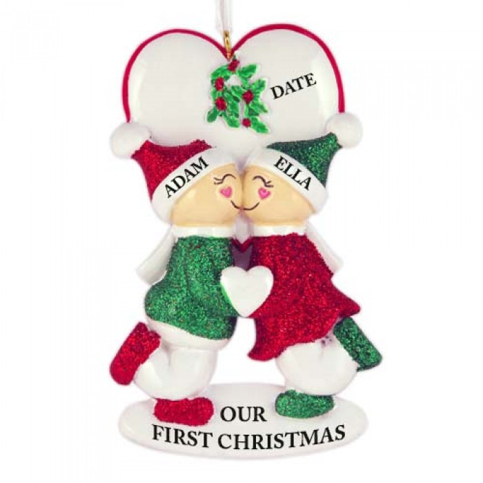 Under The Mistletoe Couple Personalized Christmas Ornament ...